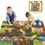 Yetech 7-1n-1 Construction Vehicles Toys Set with Play Mat - 7 Sturdy Engineering Trucks Toys