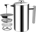 French Coffee Press - Double Wall 100% Stainless Steel - (32 Oz) - by KICHLY