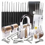 30-Piece Lock Picking Set with 3 Transparent Training Locks and Credit Card Lock Pick Tool Kit by LockCowboy + Bonus E-Guides for Beginner and Pro Locksmiths
